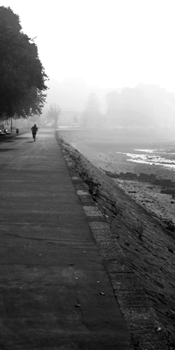 Early morning runner, near Douro river in Portugal (Black and White)